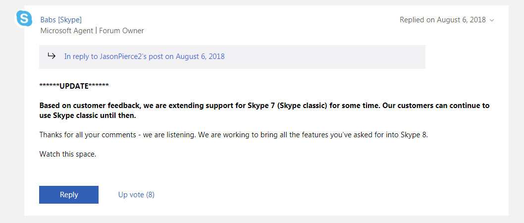 Microsoft Extends Skype Classic End Of Life And Bringing Back