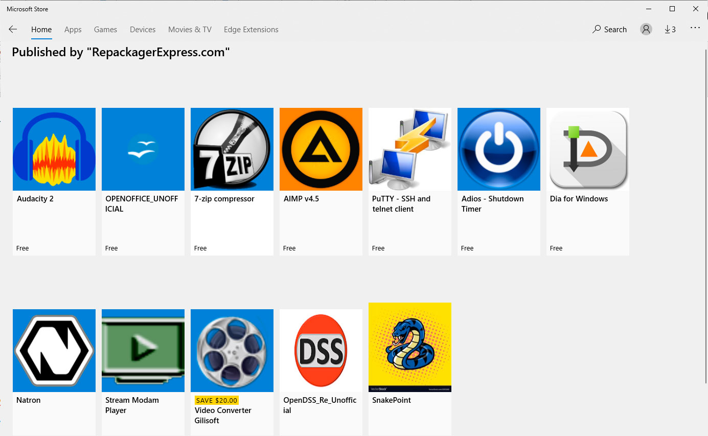 Open Source Clones Unofficially Sold on the Microsoft Store