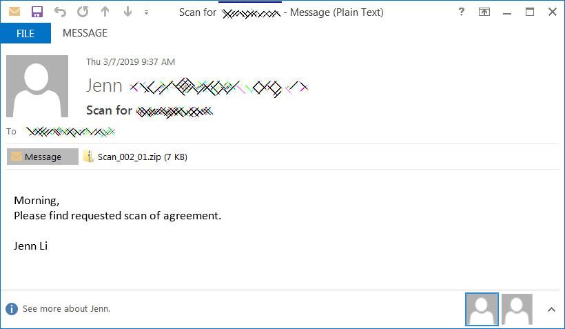 Zip dosyası ekli gerçek kimlik avı e-postası