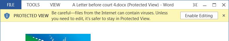 Notificación del modo de Vista protegida en Microsoft Word