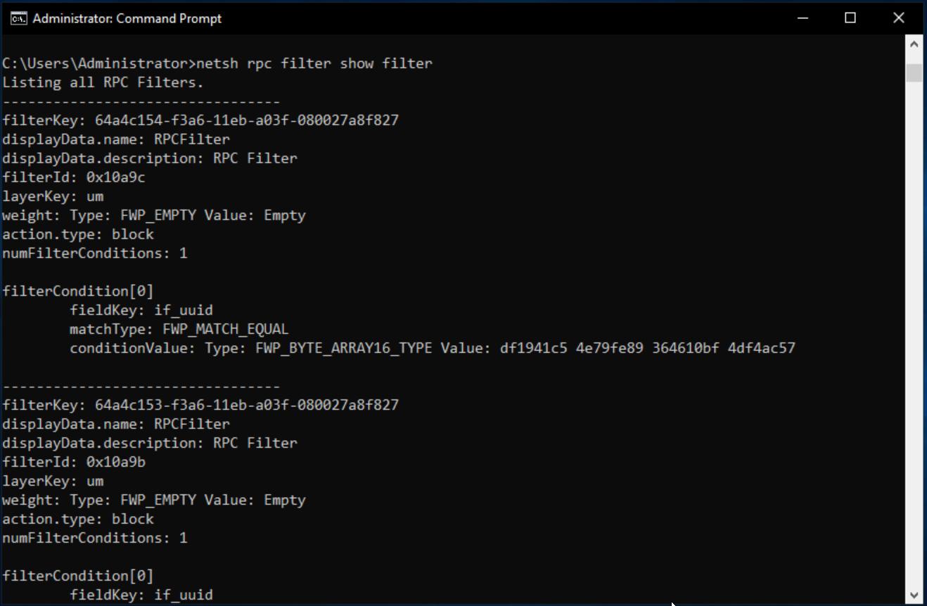 Configuring NETSH RPC filters to block PetitPotam