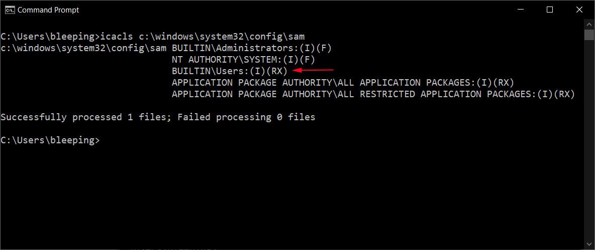 File permissions on the SAM file