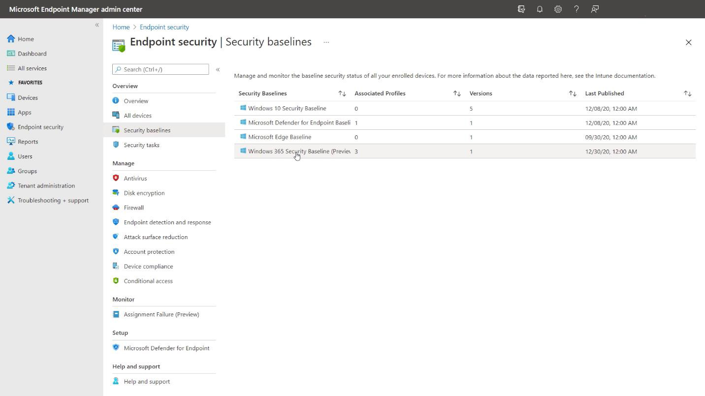 Assigning Security Baselines to Cloud PCs
