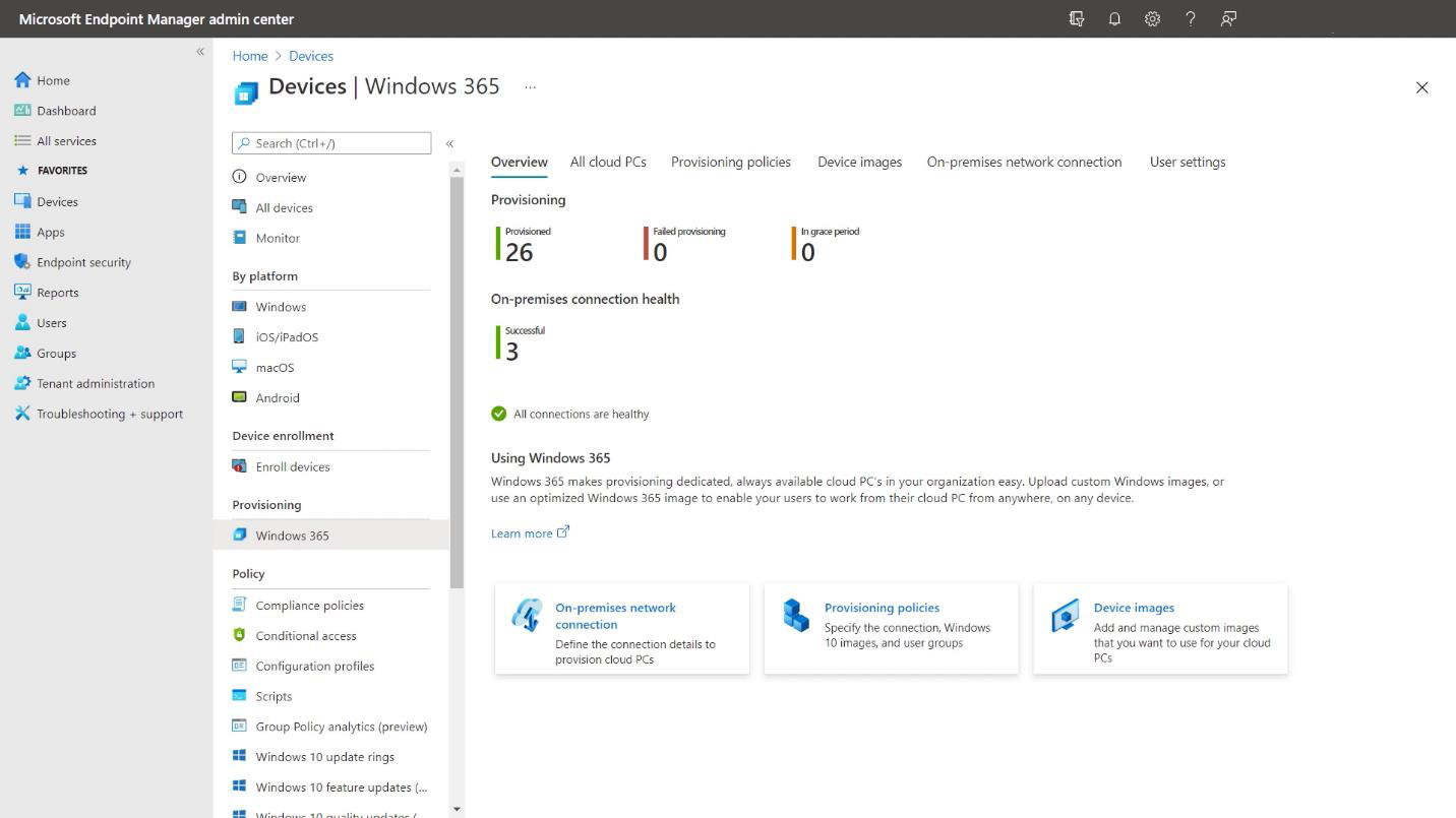 Managing Cloud PCs from Microsoft Endpoint Manager