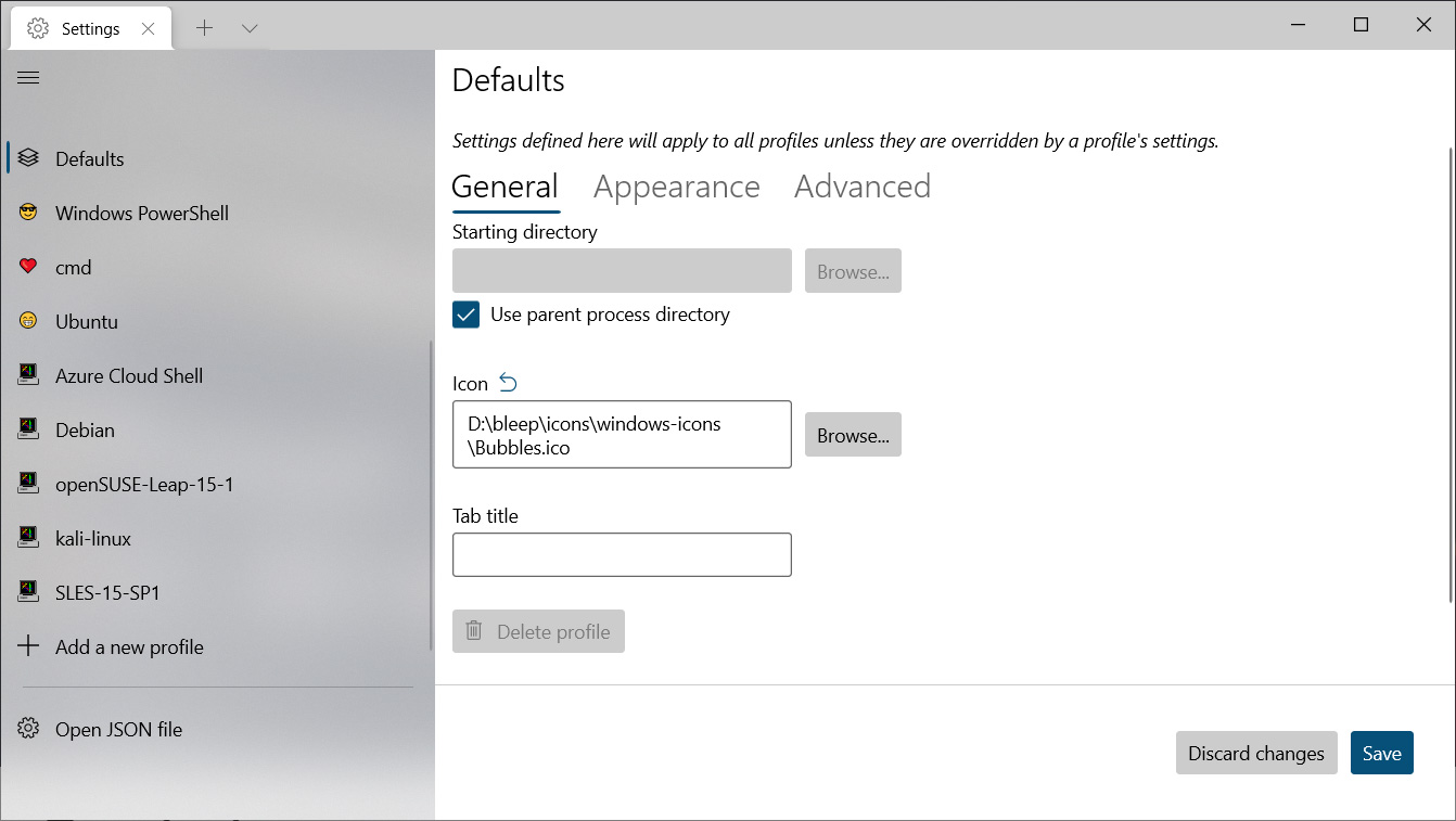 Upcoming Defaults Settings page