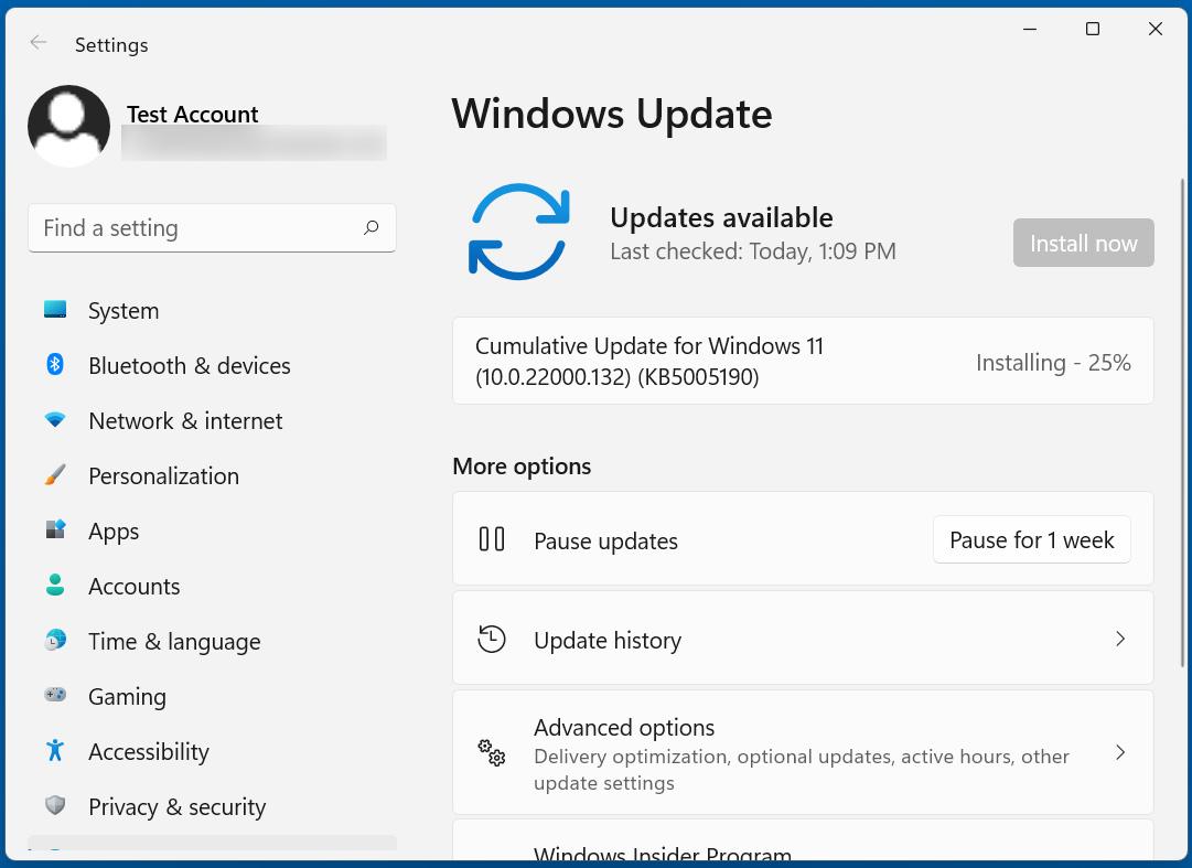 Windows 11KB5005190 cumulative update