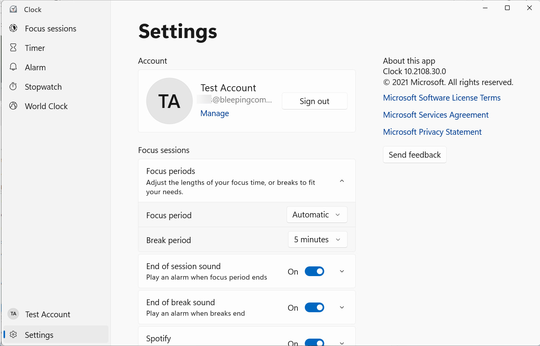 Clock app settings screen