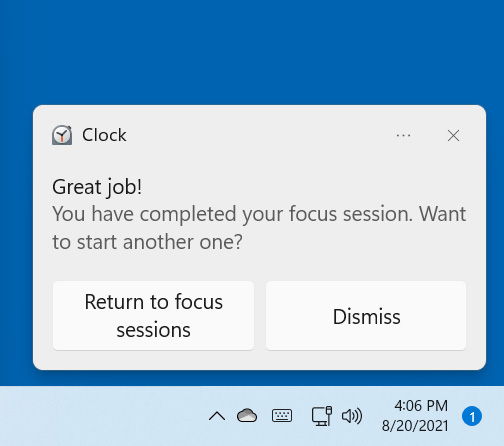 Alert when a Focus session is completed