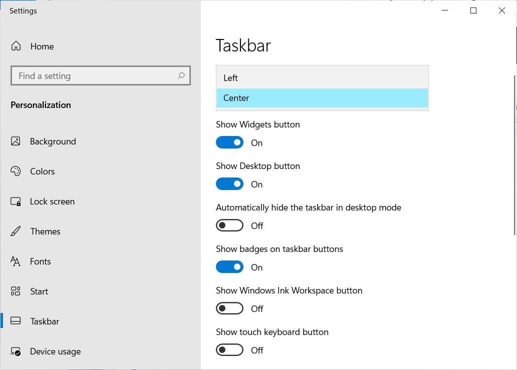 Configuración de la barra de tareas de Windows 11