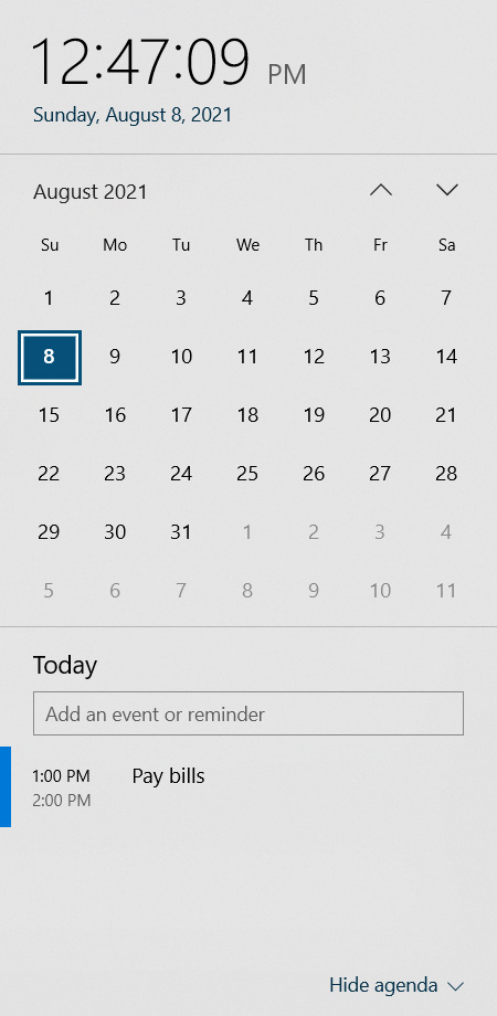Windows 10 calendar flyout with events