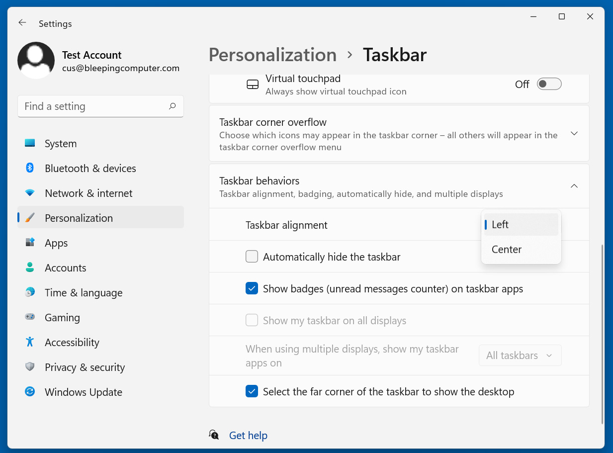Windows 11 Taskbar alignment settings