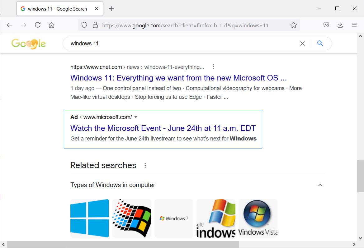 Microsoft Windows event advertisement in Google