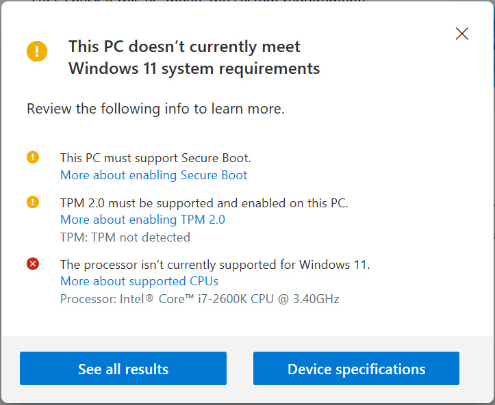 PC Health Check showing incompatible hardware