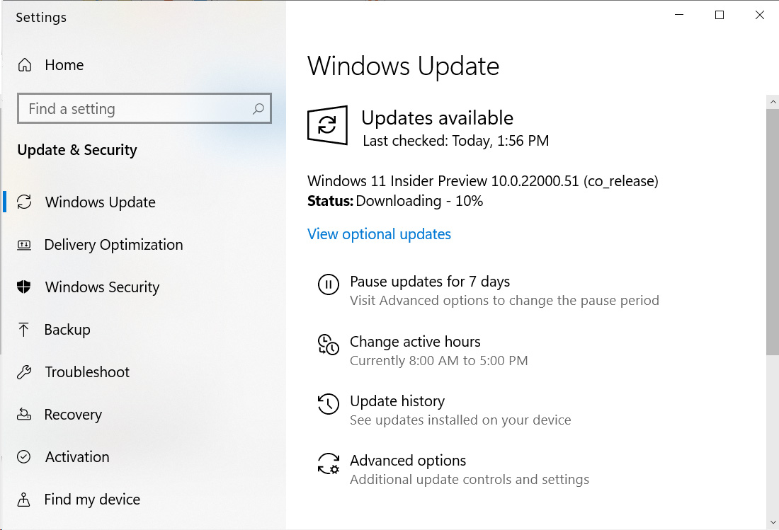 Windows 11 preview available in Windows Update