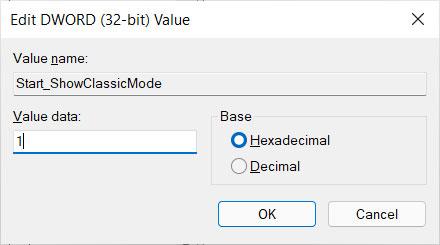 Set theStart_ShowClassicModevalue to 1