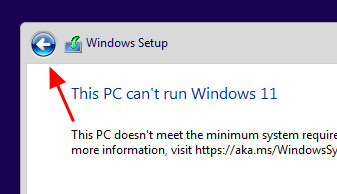 Press the back button in Windows setup