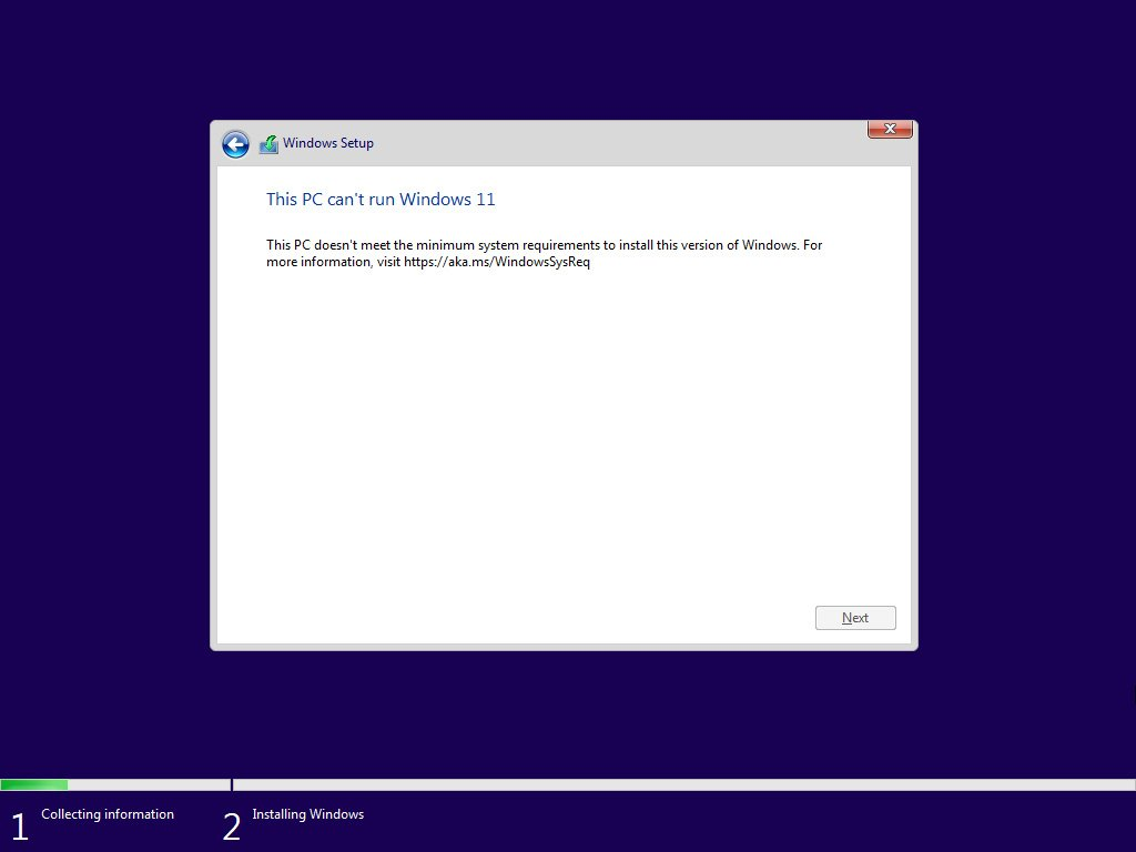 Windows 11 setup blocked due to missing hardware requirements