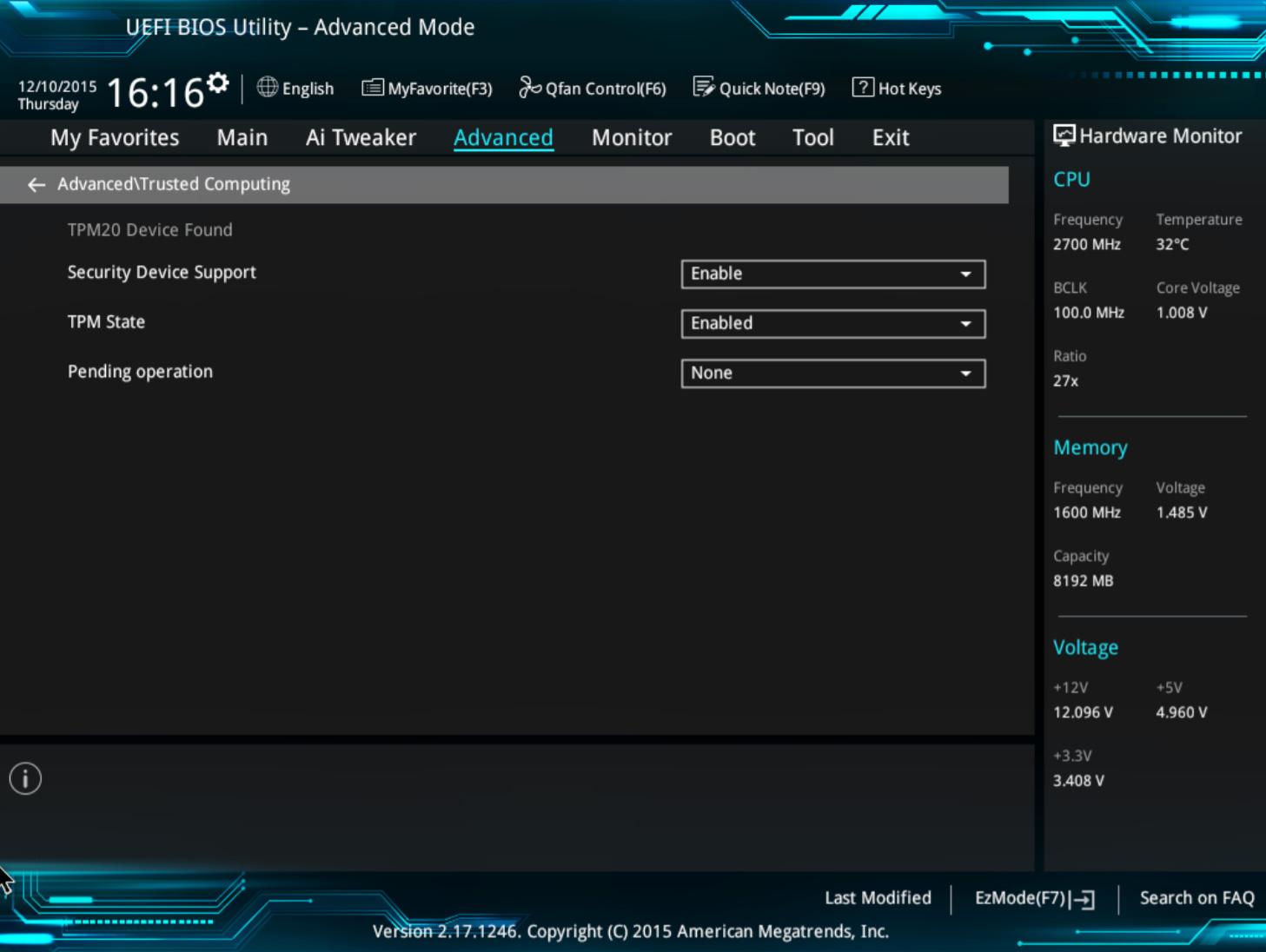 Configuración de BIOS TPM para una placa base ASUS