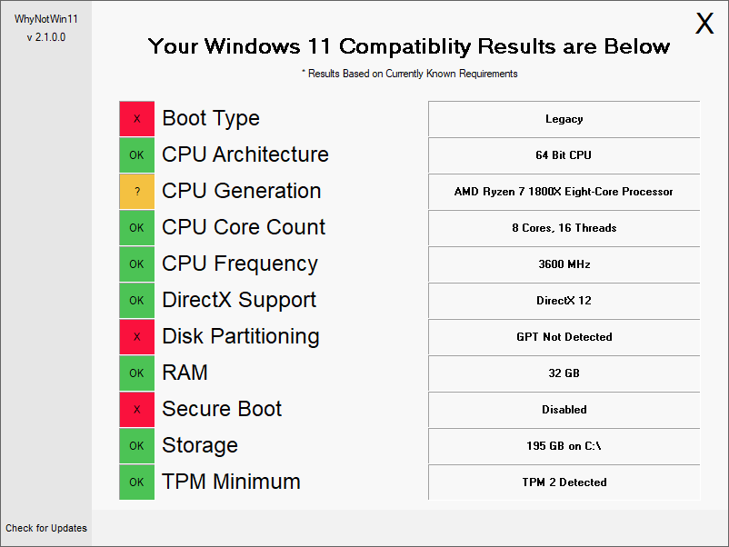 WhyNotWin11 displaying hardware results
