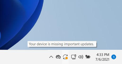 Taskbar notifying of available updates