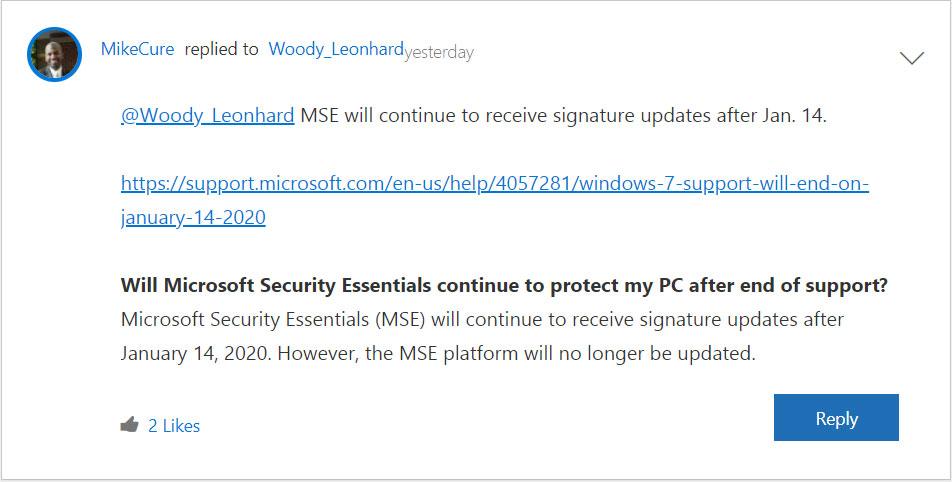 Windows 7 Microsoft Security Essentials MSE Security Updates