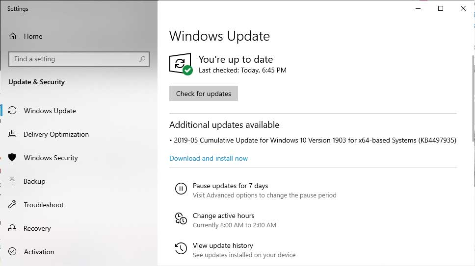Windows 10 1903 Cumulative Update KB4497935 Released With Fixes