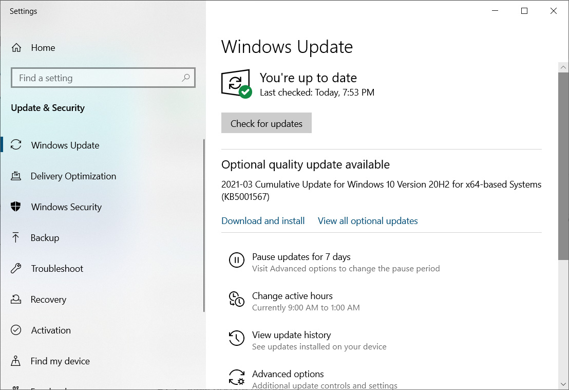 KB5001567 update offered instead