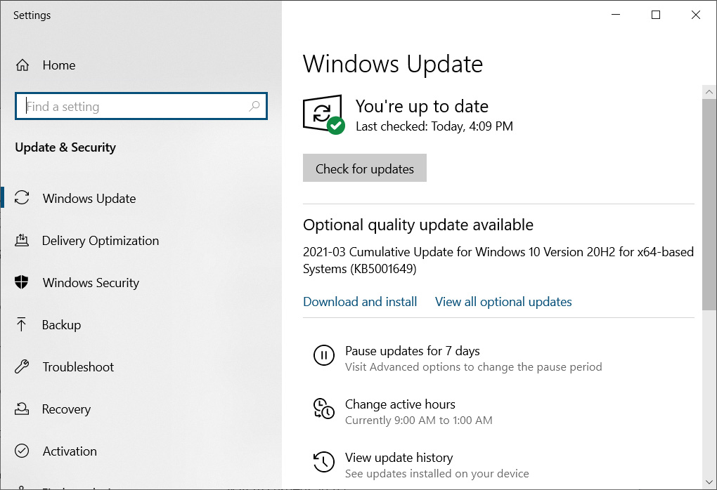 Windows 10 KB5001649 update available again