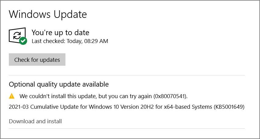 0x80070541 error when installing theKB5001649 update