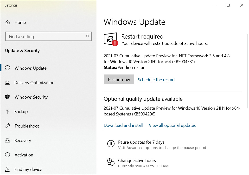 Windows Update offering the optional KB5004296 update