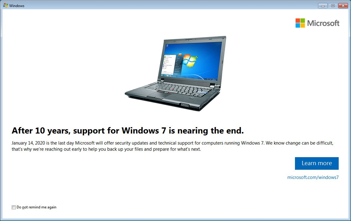 KB4493132 Update Notifies Windows 7 Users of End of Support Date