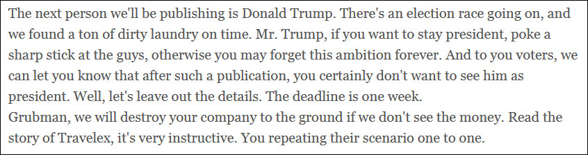 REVIL menaçant le président Trump