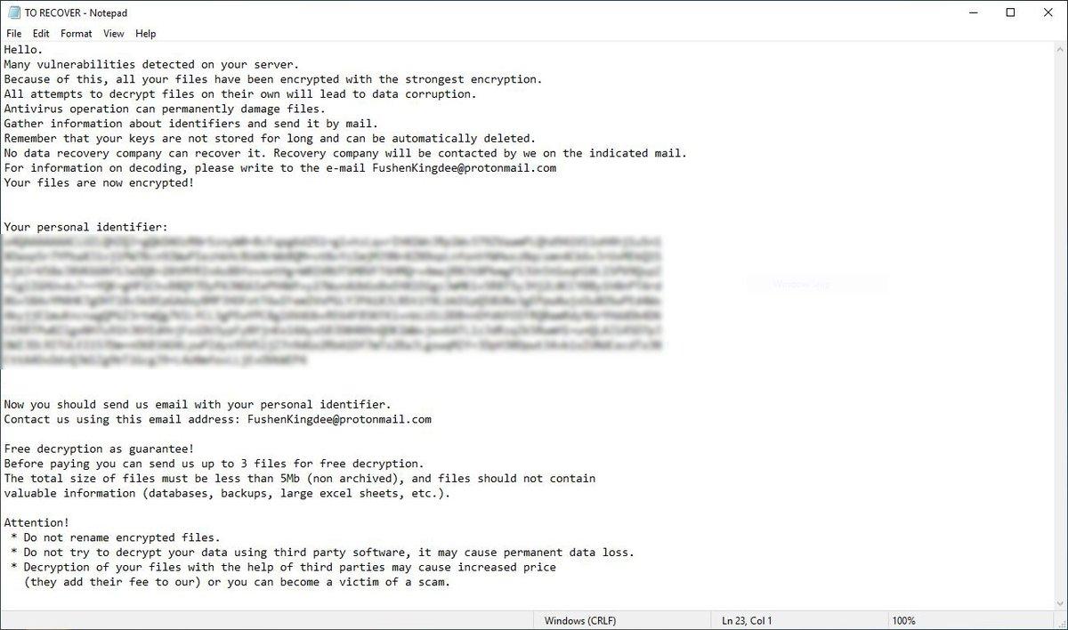 Scarab ransomware note de rançon