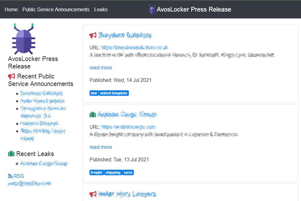 AvosLocker data leak site