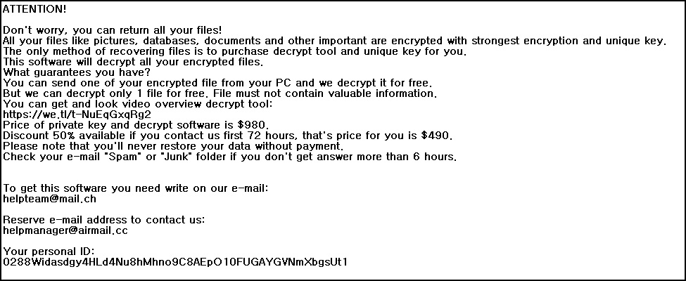 STOP Ransomware ransom note