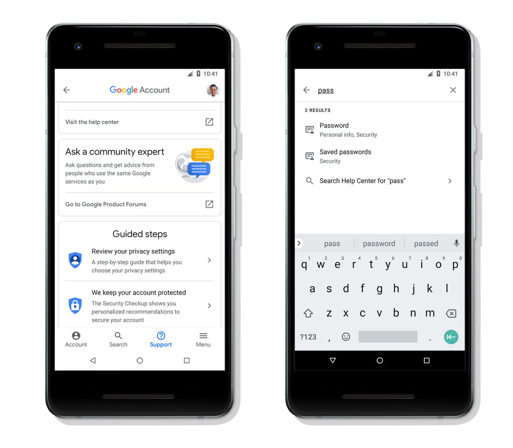 Search comes to Google Account