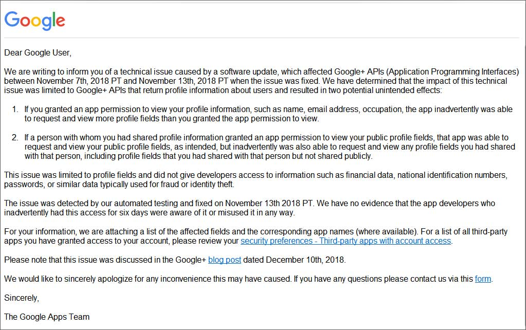 Google Emails Users About Private Data Exposed by Google+