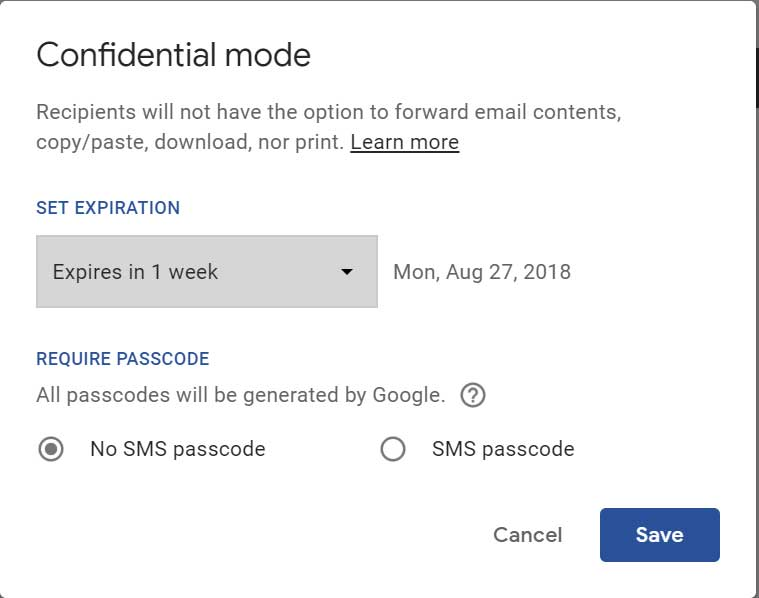 Webmail Confidential Mode Settings