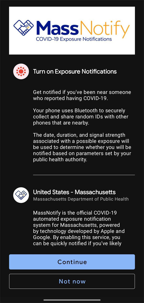 Opting in to the MassNotify app