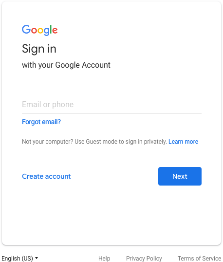 Old Google Sign-in Screen