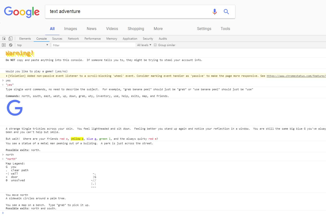 Would you like to play a game? Google Hides Text Adventure