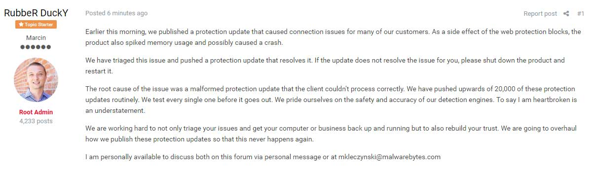 Information about New Malwarebytes Update that Resolves Problems