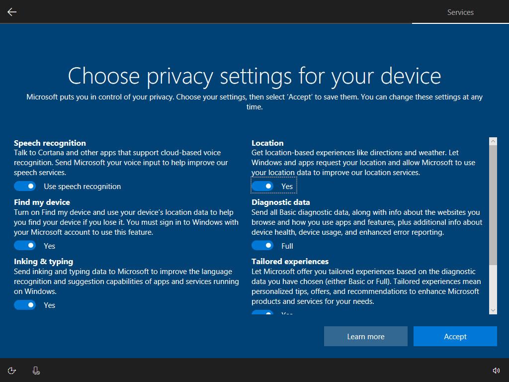 Single Privacy Settings Screen