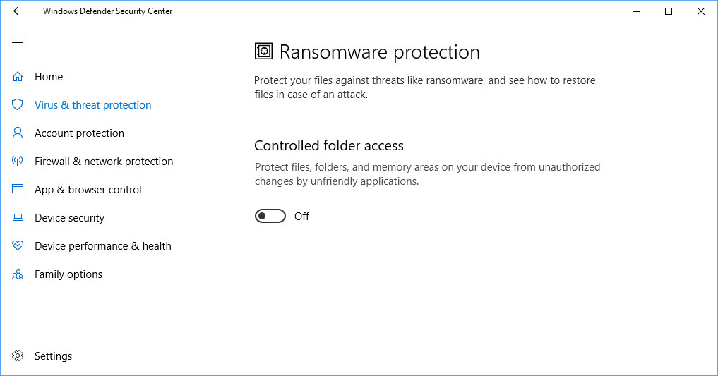 Ransomware Protection Section Included in Windows 10's Spring