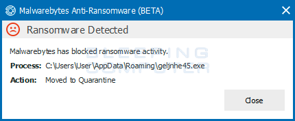 Ransomware Detection Alert
