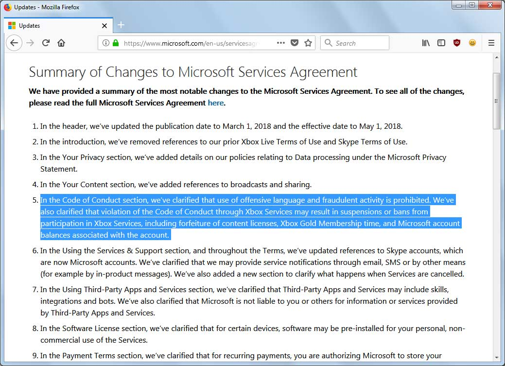 Microsoft may ban users for offensive language starting in may summary of services agreement changes platinumwayz