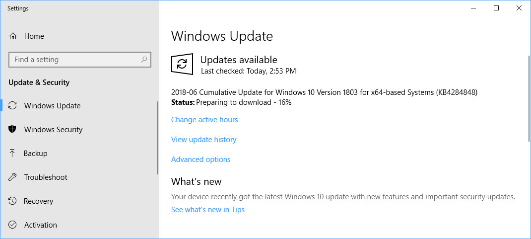 funktionsupdate für windows 10 version 1803 download