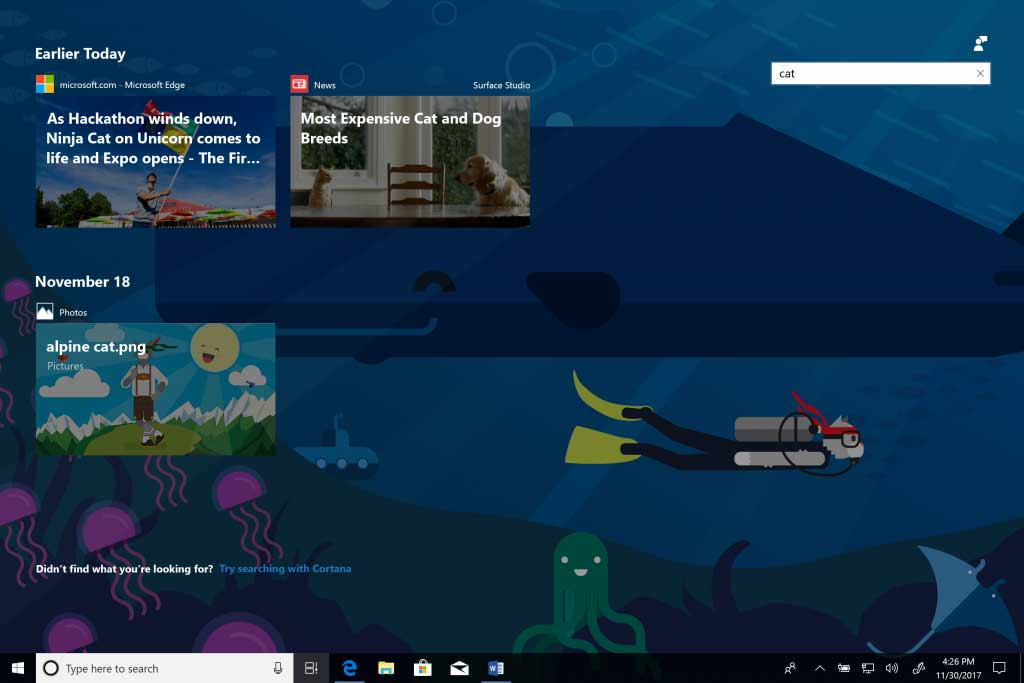 Windows 10 Timeline, Sets Features Now Available to Insiders